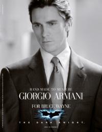 Christian Bale en Giorgio Armani pour le rôle de Bruce Wayne